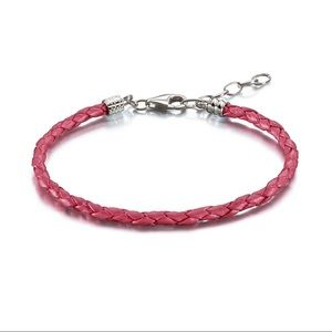 Chamilia Metallic Pink Braided Leather Bracelet